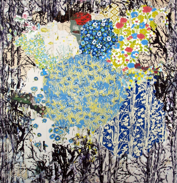 Jessica Weiss Woods 2008-2010 Silkscreen, acrylic and collage on canvas