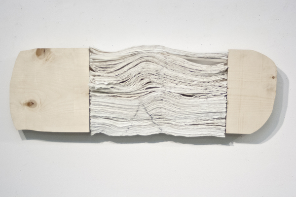 JIEUN JANG Sculpture tracing paper, graphite, thread and wood