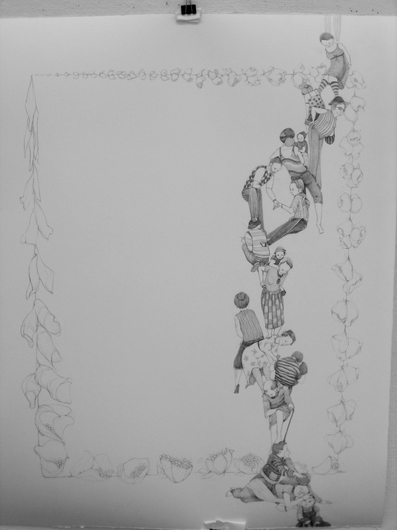 "Jillian Dickson (Ludwig) Graphite Drawings: ""PRICKLED LILLY PERCH"" 2008-12"