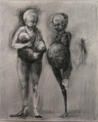 "Jillian Dickson (Ludwig) Charcoal Drawings: ""THIS, THAT""  Charcoal, Watercolor, Paper"