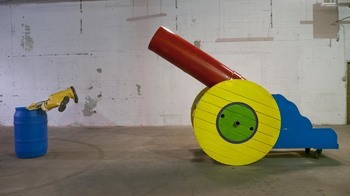JIM FELICE Sculpture painted steel, wood, plastc barrel, rubber boots