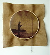 STRINGS ATTACHED  Wooden embroidery hoop, thread, burlap, digital photo, fish hook