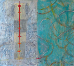 Joan K. Russell 2014 mixed media on linen