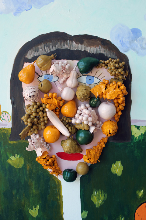 Joanna Powell Objects acrylic on canvas, paint coated fruit