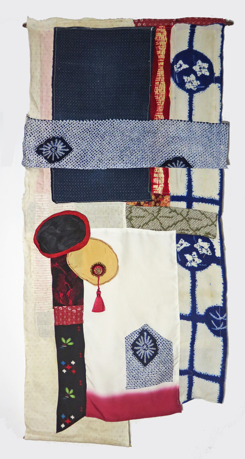 JoAnne Lobotsky 2015-2018 Fiber Works (textile and paper) Vintage kimono silk and Japanese linen kusakizome kazuri backed with canvas. One round area stuffed with cotton batting, thread, tassel, dowels and wooden curtain rod.