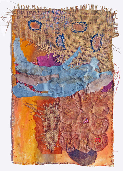JoAnne Lobotsky 2015-2018 Fiber Works (textile and paper) Burlap, Hanji paper, iron oxide, acrylic, dried quince, Japanese Sashiko thread, liquid graphite, walnut ink, fabric on unstretched canvas.