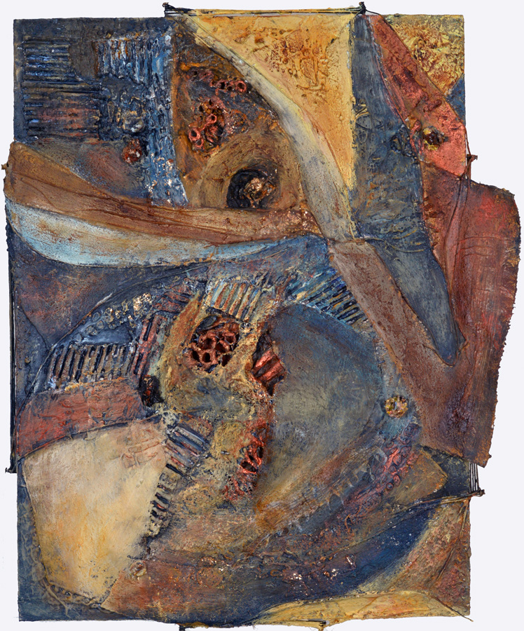 JoAnne Lobotsky Mixed Media and Collage Acrylic, sticks, molding paste, pumice, canvas, cord, nails, cardboard, Thai gossamer paper, ashes, glitter, metallic paint on wood panel.