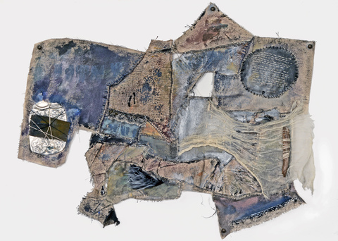 JoAnne Lobotsky Fiber Works (textile and paper) 2015-2019 Gouache, liquid acrylic, cheesecloth, wood, faux fur, beads, lace trim, flattened soda can on stitched together canvas scraps