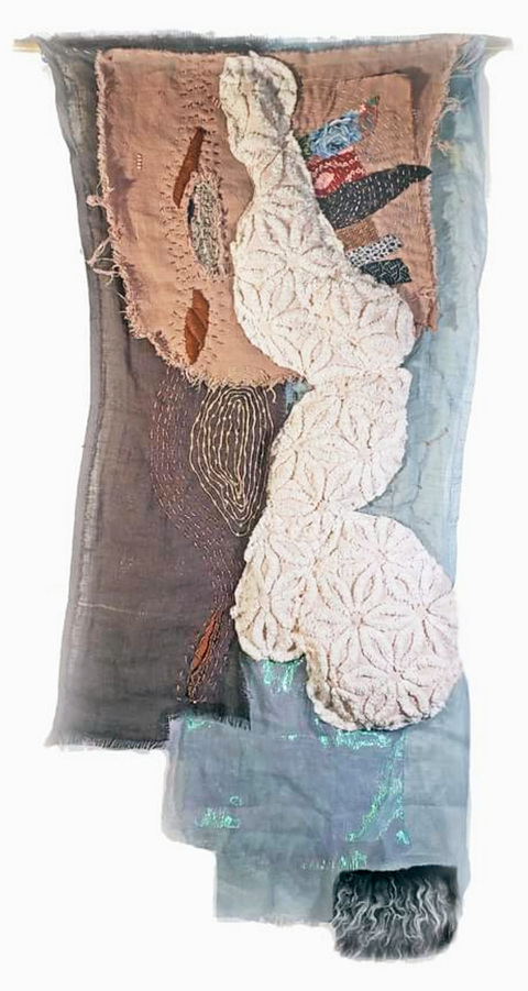 JoAnne Lobotsky Fiber Works (textile and paper) 2015-2020 Linen, iridescent organza, chenille bedspread, padding, faux fur, vintage scraps, various threads