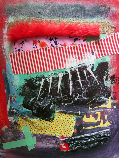 JoAnne Lobotsky 2015 Mixed Media and Collage acrylic, faux fur, newspaper, cloth, tape on canvas