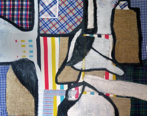 JoAnne Lobotsky 2015 Mixed Media and Collage Vintage fabric, vintage linen, and acrylic on canvas.