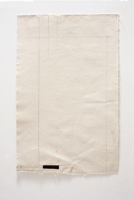 Joan Waltemath Rests thread and pencil on natural and black canvas
