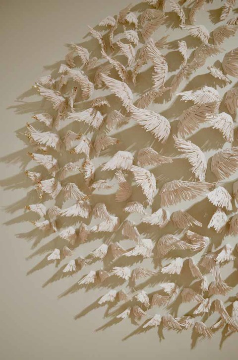 Past Exhibition Images 99 pairs of porcelain wings, 13 with 20k gold china painted tips