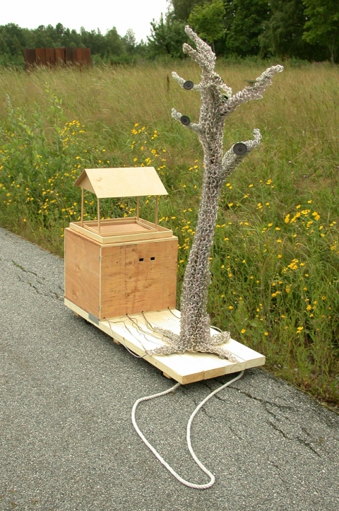Johanna Byström Sims Sculptures crocheted speaker wire, speakers, wood, casters, sound