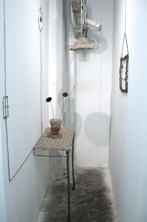 Johanna Byström Sims Sculptures crocheted speaker wire, speakers, pencil on wall, sound