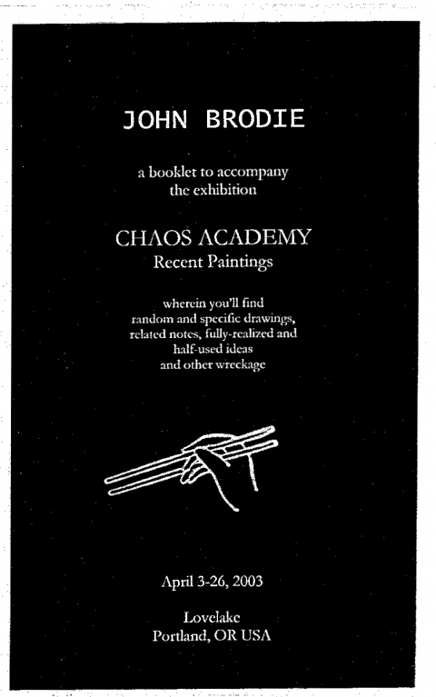 Ideas Chaos Academy show booklet