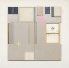 John Fraser work in relief Mixed-Media Collage on Wood Panel Construction, with Found Objects