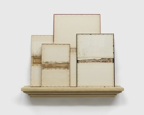 John Fraser sculpture/assemblage Mixed Media Collage on Wood Panels, with Wood Shelf Construction