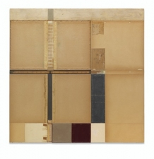 John Fraser work in relief Acrylic and M/M Collage on Wood Panel Construction, with Found Rule
