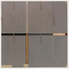 John Fraser work in relief Acrylic and M/M Collage on Wood Panel Construction, with Fabric, and Found Rule