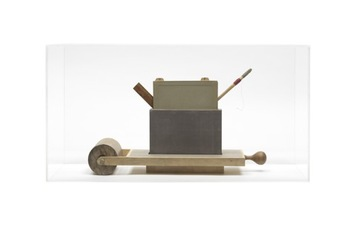 John Fraser sculpture/assemblage Acrylic, Graphite Wash, & Collage on Box & Wood Construction, w/ Found Objects