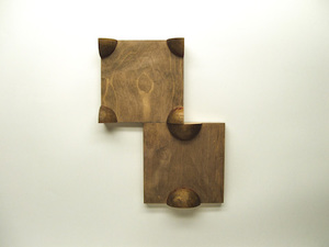 John Fraser sculpture/assemblage Stain & Wax on 2-part Wood Construction