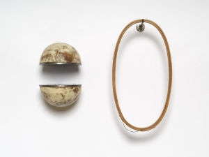 John Fraser sculpture/assemblage Waxed Steel, Waxed Wood, Waxed Found Embroidery Hoop, Stainless Hook (4 Parts)