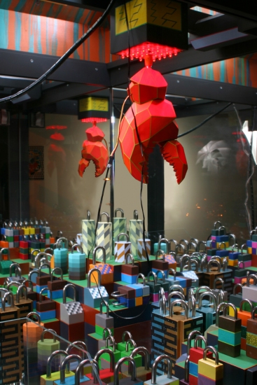 John Hodany SCULPTURE-  'LOCK CLAW SKILL CRANE' acrylic, oil, wood, plastic, plexi, glass, LED light, electronic parts, w/sound, mix medium