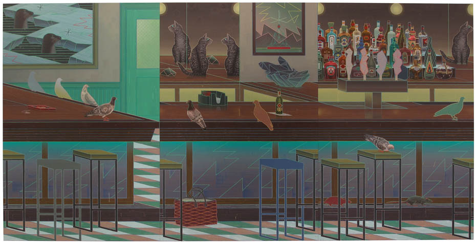 John Hodany 'PEACEABLE KINGDOM'  2010 oil on wood panel, 3 parts