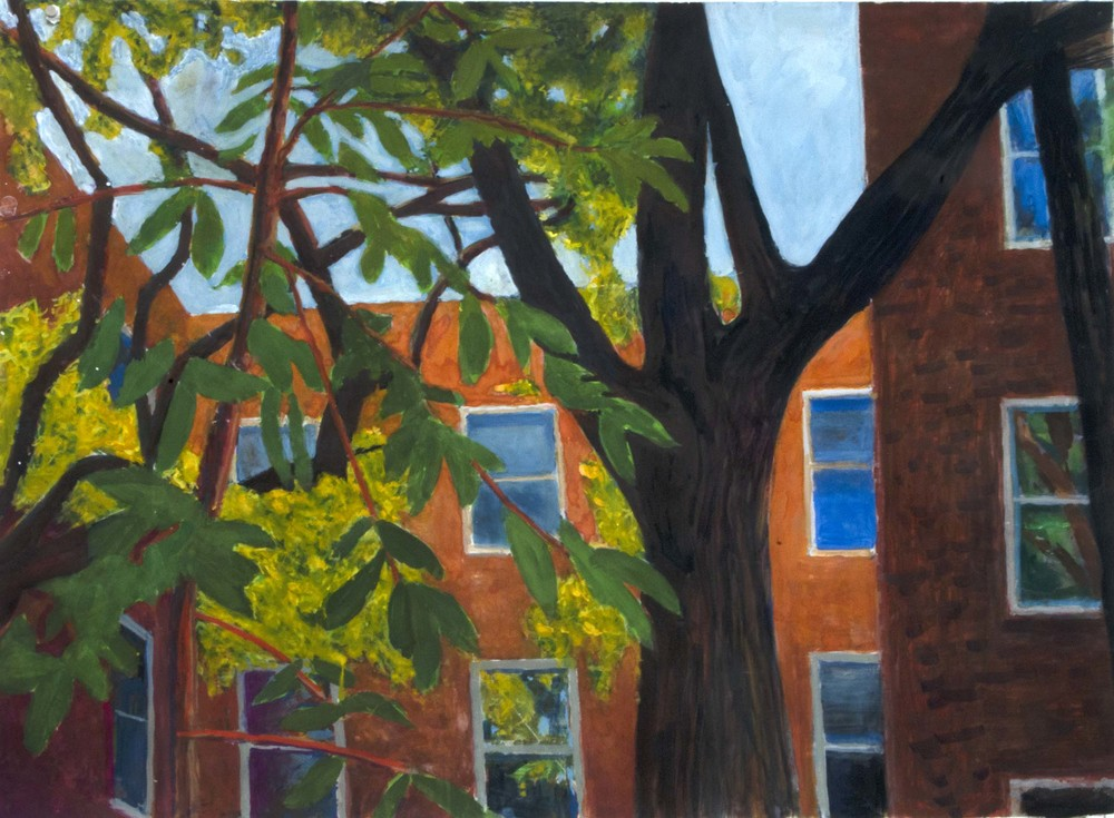 John Hundley Greer Courtyard  Gouache, watercolor