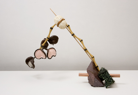 John Newman  Sculpture - 2009-2014 rough cut and polished green and red porphyry, copper rod, bronze rod, satin rattail, varnished nut husks from Australian outback, coconut fiber rope from Gujarat, wood putty, papier mache, acqua resin, acrylic paint