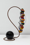 John Newman  Sculpture - 2015-2018 polished obsidian, forged iron, blown acrylic, paper mache, foam, wood, Japanese paper, armature wire, acqua resin, acrylic paint