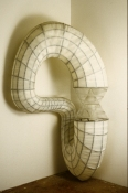 John Newman  Sculpture - 1990-2001 Gauze bandage, epoxy resin, twisted steel cable, steel plate, mold blown sandblasted glass