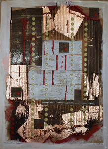 John T Adams Expo67-My First Exposure to Brutalist Architecture Acrylic paint, gesso, copper leaf, ink and cardboard on Ram Board