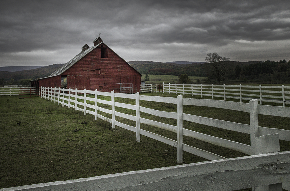 Landscapes Gallery Red Barn and White Fence Series:  Diagonal Fence  ©