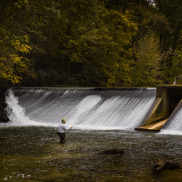 Landscapes Gallery Fly Fishing 6:  Fishing Around the Spillway  ©