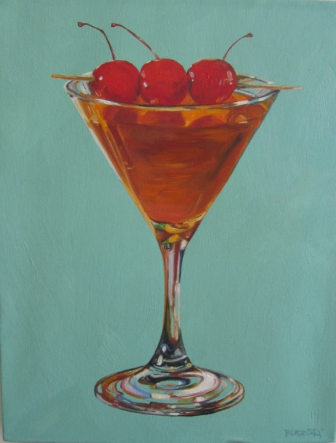 Joseph Borzotta Lounge Life/Cocktails Oil on canvas