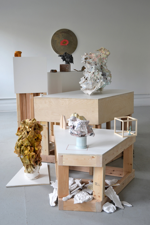 Josh Johnson Collaborative  plaster, oil paint, white glue, water putty, painter's tape, bubble wrap, polystyrene, styrofoam, balsa foam, Bondo, wood, plywood, latex paint, found bronze, found objects