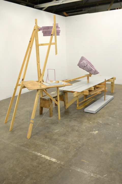 Josh Johnson Distance Learning pine, plywood, polystyrene, mdf, string, sawhorse, latex paint