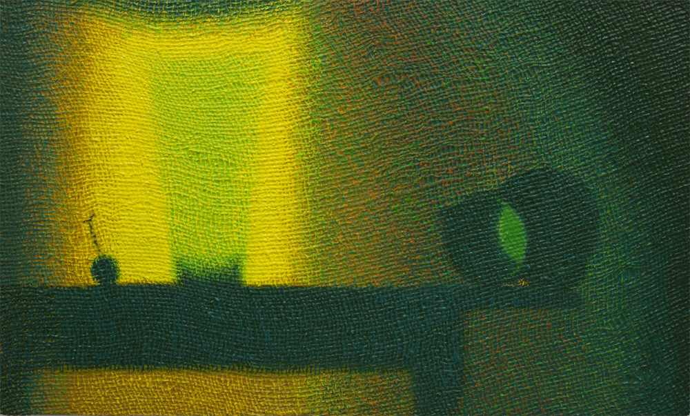 Burlap, 2011  Cherry, Glass, Pitcher, 2011. Oil on burlap on panel, 18 x 30 inches.