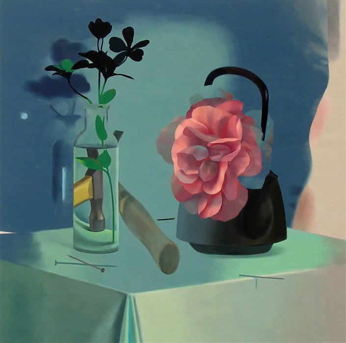 Inquirer, 2005-2007 Hammer and Flower, 2006. Oil on panel, 18 x 18 inches.