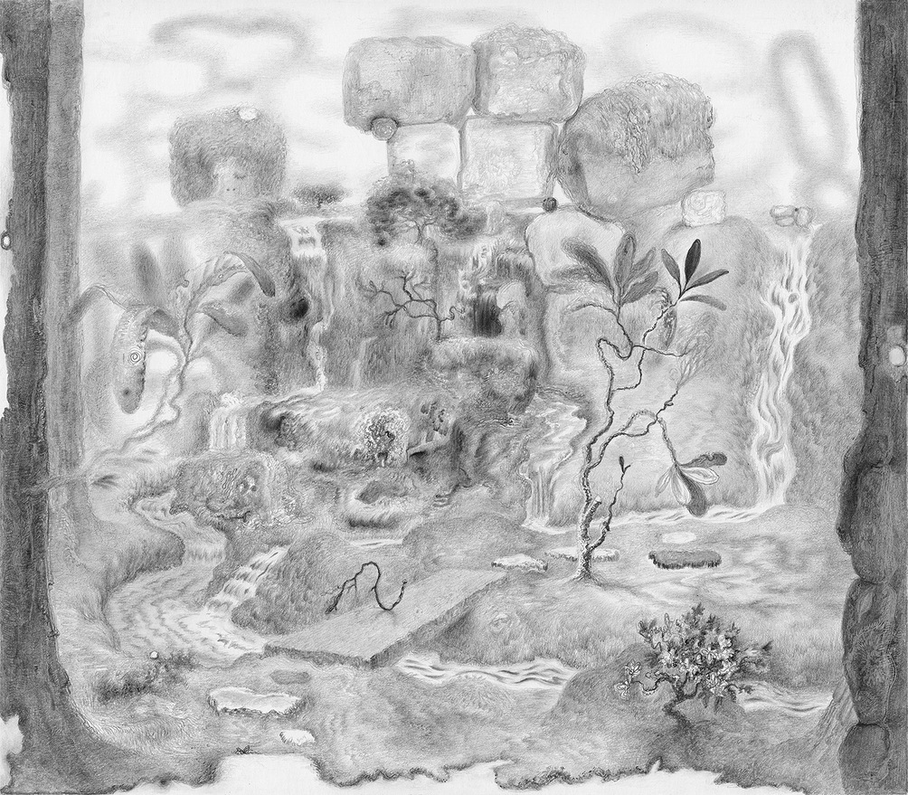 Paper Garden, 2017 Borrowed View, 2017, graphite on paper, 8.5 x 9.5 inches