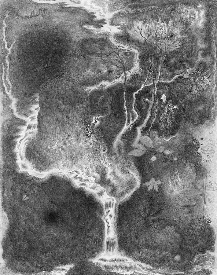 Paper Garden, 2017 Evening, 2017, graphite on paper, 7 x 5.5 inches