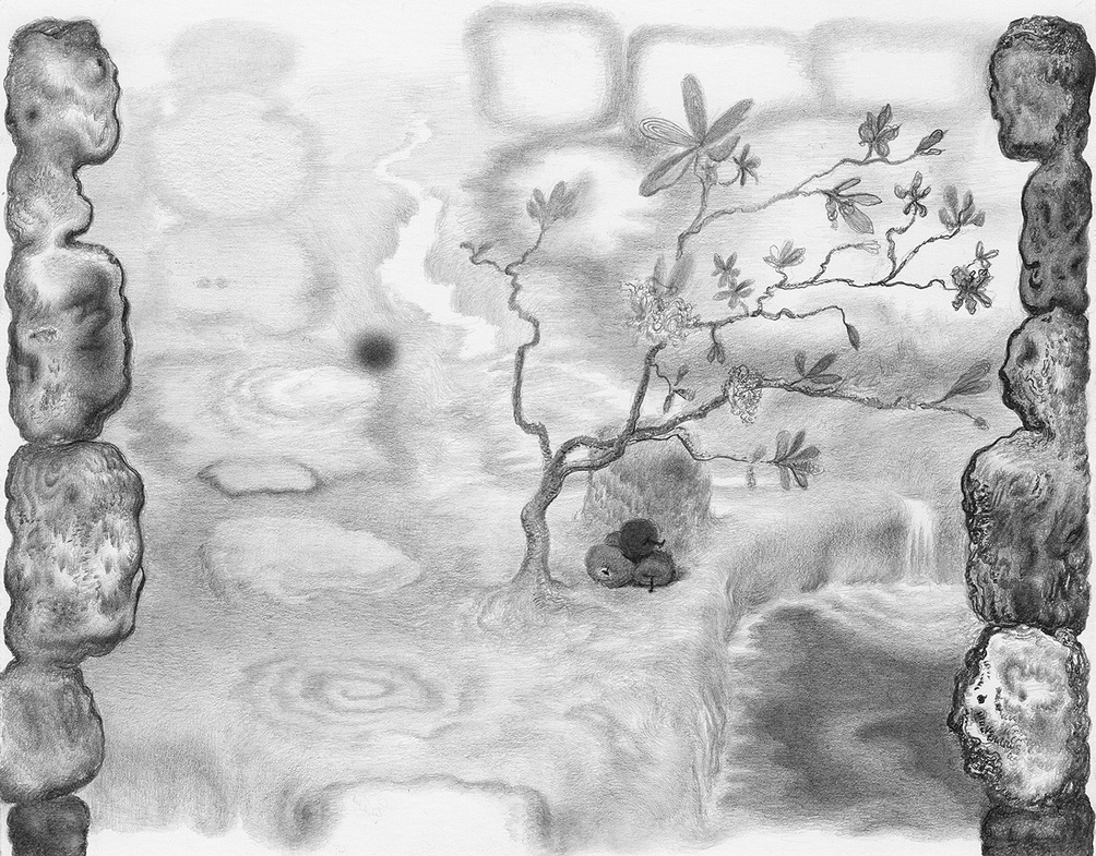 Paper Garden, 2017 Self Study, 2017, graphite on paper, 5.5 x 7 inches