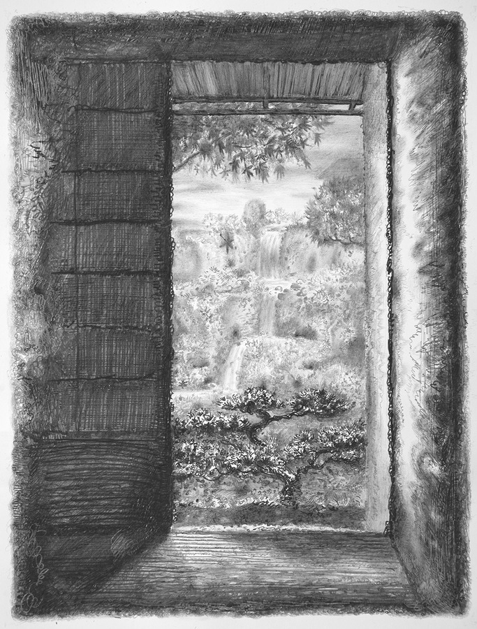 Drawings, 2015 Teahouse, 2014, graphite on paper, 5.5 x 5.5 inches