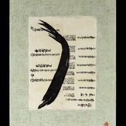 JOY J. ROTBLATT Current Encaustics  Encaustic with antique japanese rice paper text on cradled board