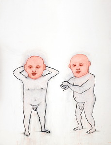 "J o y c e  K u b a t 50"" Little People ink and pastel on paper"