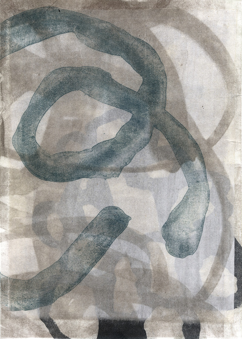Judith Bowerman Threads monoprinted lithograph with Chine-collé on Revere Silk
