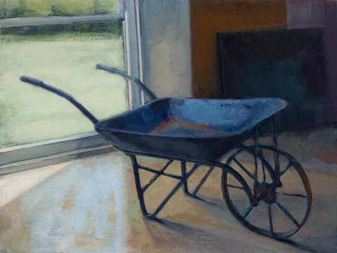 Judith Pointer Jia Wheelbarrows oil on canvas on panel