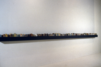 Judith Pointer Jia Houses various glazed ceramic, lead sheet, wood shelf. wall paint